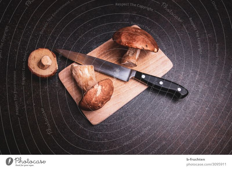 porcini mushrooms Food Nutrition Vegetarian diet Kitchen Work and employment Select Eating Dark Fresh To enjoy Boletus Mushroom Collection Knives Chopping board