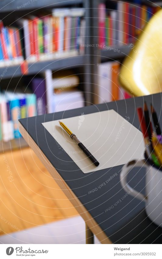 desk Economy Stationery Paper Piece of paper Pen Write Perspective Planning Colour photo Interior shot Shallow depth of field