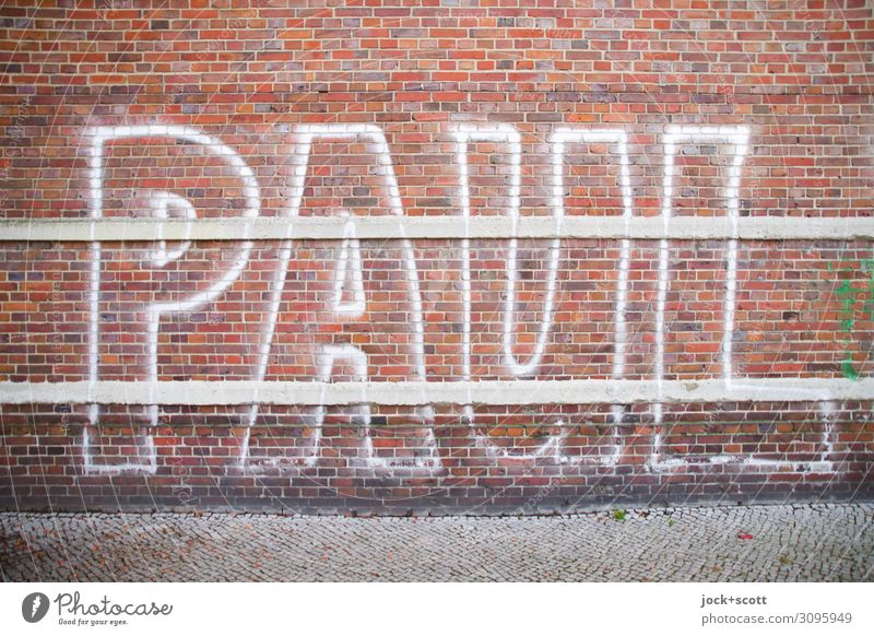 PAUL Subculture Downtown Berlin Brick wall Sidewalk Name Spray Graffiti Line Stripe Cool (slang) Simple Firm Large Uniqueness Trashy Town Moody Willpower Loyal