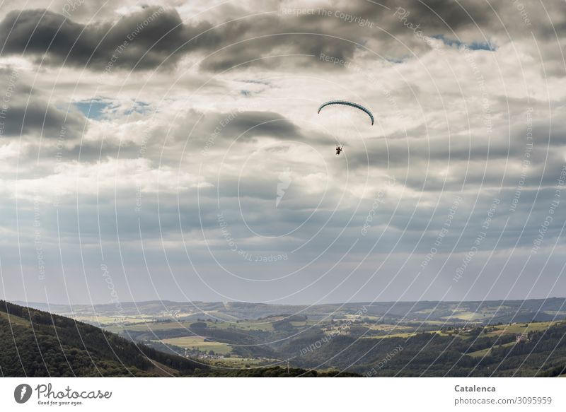 *1000* Jump to freedom Paragliding Environment Nature Landscape Sky Storm clouds Horizon Summer Bad weather Tree Grass Meadow Forest Hill Flying Success Tall