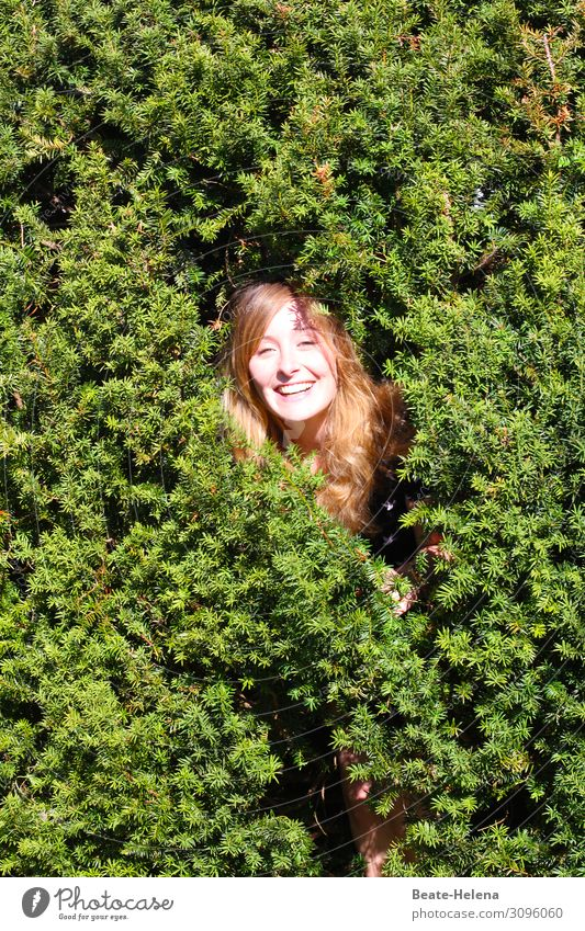 Catch me, if you can Beautiful Well-being Contentment Young woman Youth (Young adults) Head Nature Bushes Park Garden Red-haired Long-haired Relaxation Laughter