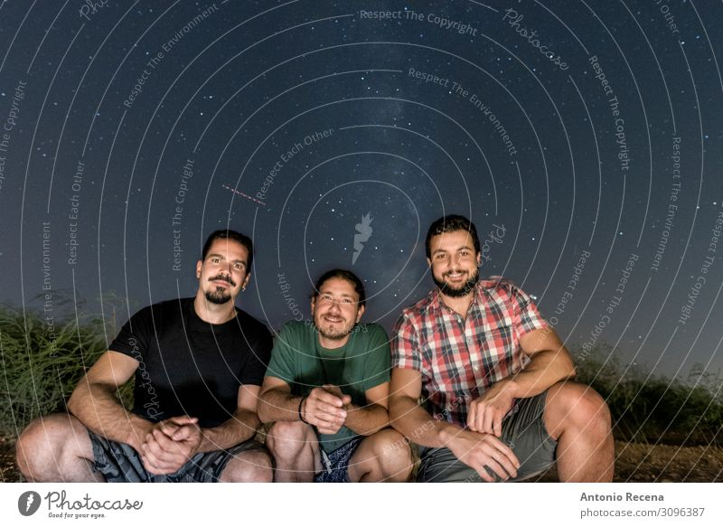 three friends posing with the milky way in the background Lifestyle Happy Relaxation Summer Human being Man Adults Friendship Sky Sit Cool (slang) Dark Black