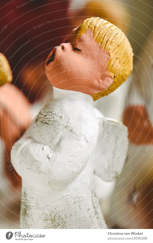little singer Christmas & Advent Decoration Angel Christmas Angel Christmas decoration Stand Blonde Friendliness Cute Beautiful White Moody Happy Happiness