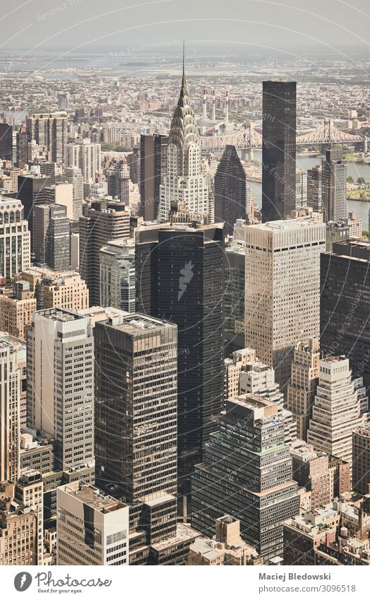 Retro stylized aerial view of New York City, USA. Vacation & Travel Sightseeing City trip Living or residing Flat (apartment) House (Residential Structure)