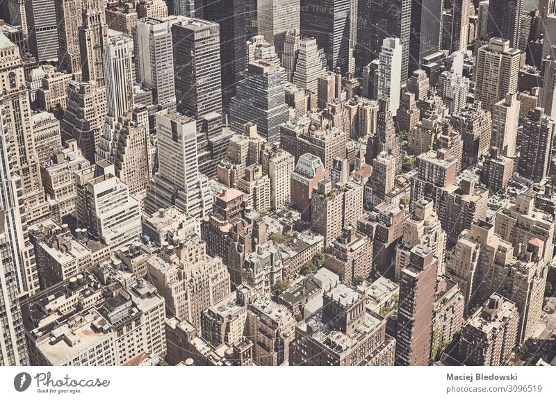 Retro stylized aerial view of New York City, US. Vacation & Travel Sightseeing City trip Living or residing Flat (apartment) House (Residential Structure)