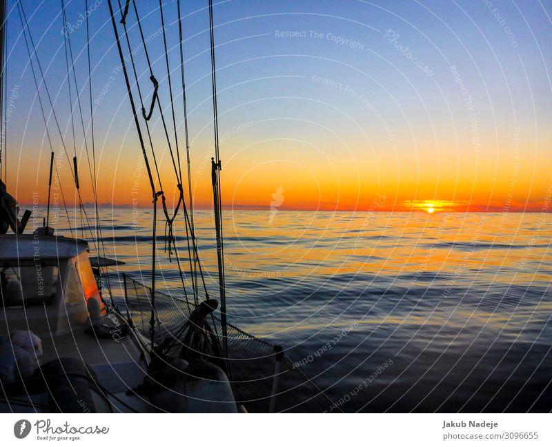 Sunset Over the Atlantic Environment Nature Water Cloudless sky Horizon Sunrise Sunlight Summer Beautiful weather Ocean Atlantic Ocean Navigation Boating trip