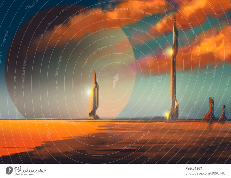 Blue House (Residential Structure) Clouds Far-off places Beach Black Orange Horizon High-rise Future Illustration Tower Skyline Universe Lakeside Infinity