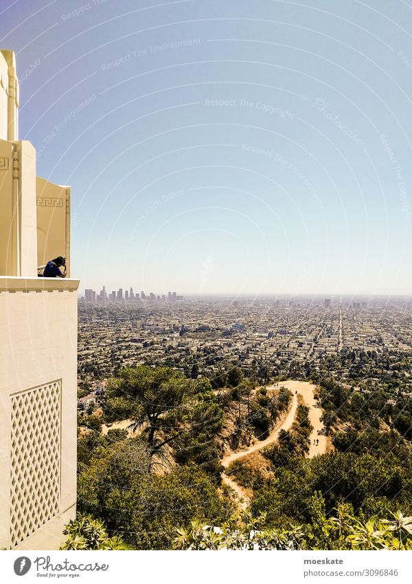 Griffith Observatory Town Blue Green Los Angeles California USA Large Horizon Skyline Tourist Park Vantage point Far-off places Colour photo Subdued colour