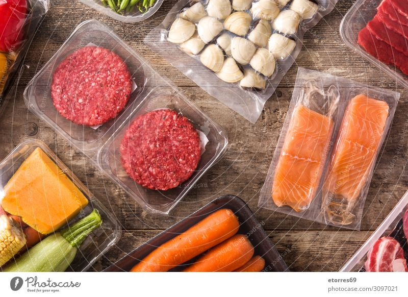Different types of packaged food. Food Healthy Eating Dish Food photograph Packaged Meat Fish Salmon Vegetable Carrot green beans burger Zucchini Meal Seafood