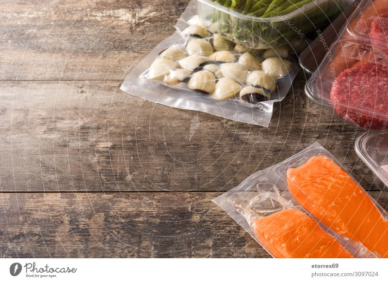 different types of packaged food. Beef,vegetables and seafood Food Healthy Eating Food photograph Packaged Meat Fish Salmon Vegetable green beans burger Meal