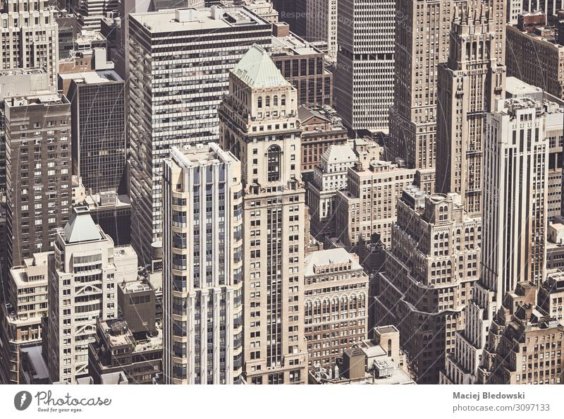 Retro toned aerial view of New York City architecture, US. Vacation & Travel Sightseeing City trip Town Downtown House (Residential Structure) High-rise