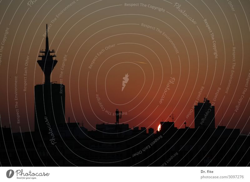 in the air tonight Duesseldorf Germany Europe Town Skyline Television tower Rheinturm Work and employment Living or residing Vacation & Travel Colour photo