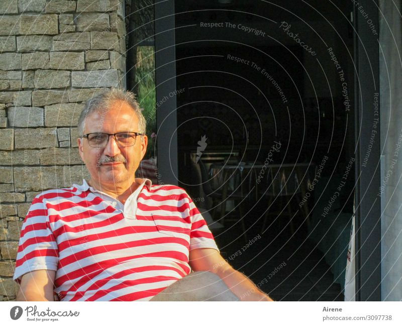 the master of the house Relaxation Flat (apartment) Terrace Masculine Man Adults 1 Human being 45 - 60 years Summer Beautiful weather French windows Polo shirt