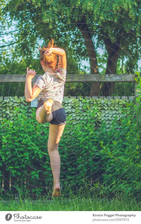jump Human being Feminine Girl Young woman Youth (Young adults) Infancy Life Body 1 13 - 18 years Garden Jump Happiness Adventure Movement Colour photo