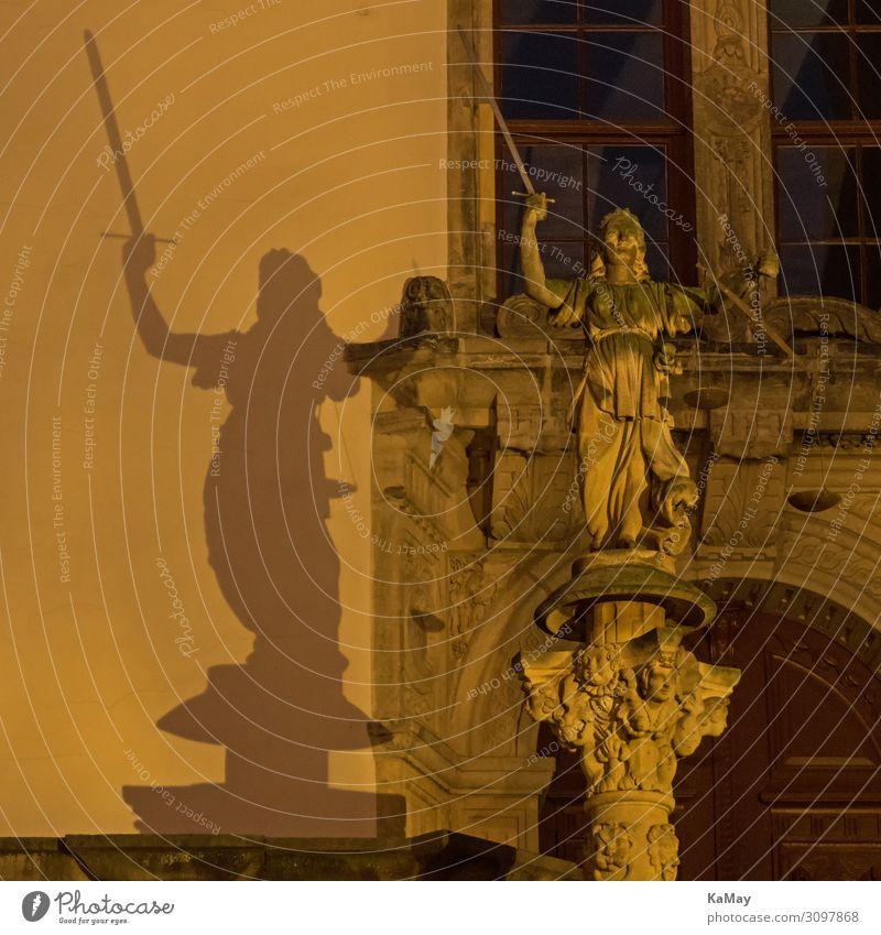 Justitias Shadow Art Sculpture Lady Justice goerlitz Saxony Germany Europe City hall Architecture Tourist Attraction Monument Power Might Conscientiously Wisdom