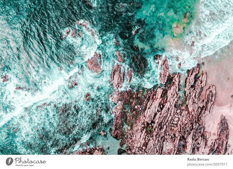 Aerial View Of Ocean Waves Crashing Environment Nature Landscape Earth Sand Water Summer Weather Storm Rock Coast Beach Island Discover Vacation & Travel