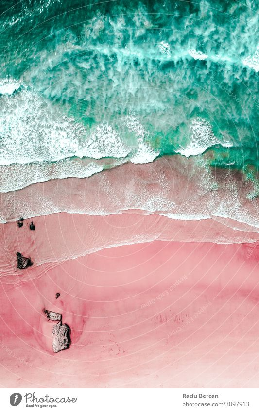 Aerial View Of Ocean Waves And Beautiful Pink Sandy Beach Shore Environment Nature Landscape Water Summer Beautiful weather Coast Island Discover