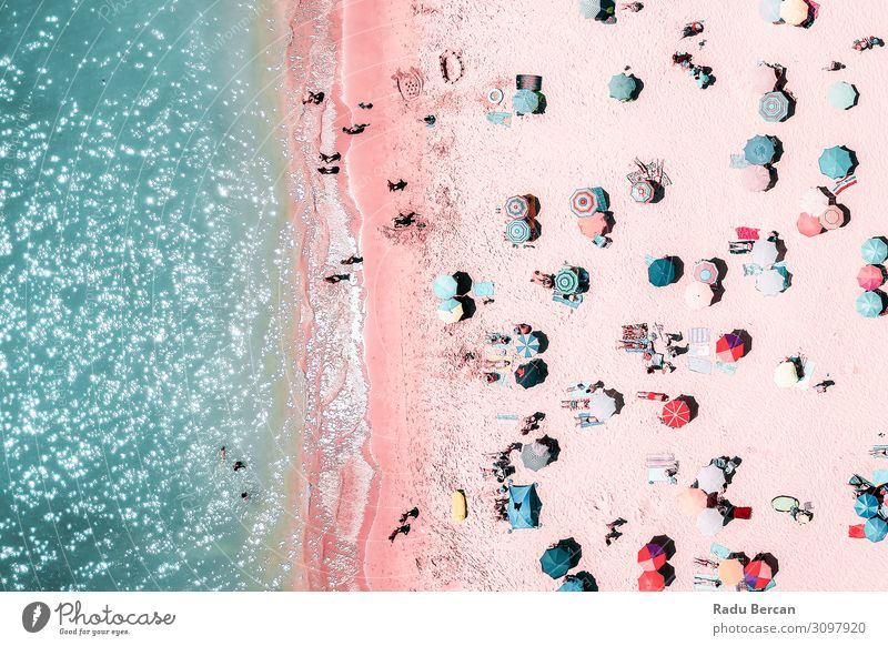 People Crowd On Beach, Aerial View Swimming & Bathing Vacation & Travel Adventure Freedom Summer Summer vacation Sunbathing Ocean Waves Human being