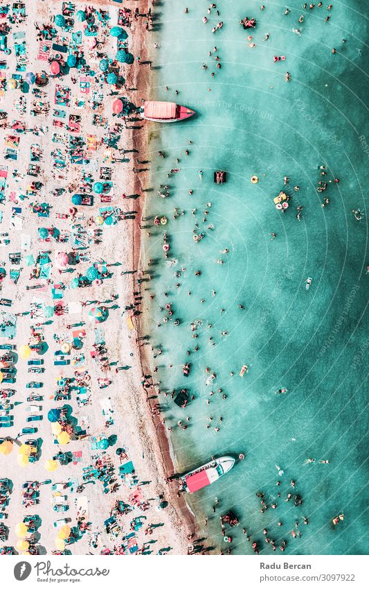 People Crowd On Beach, Aerial View Human being Vacation & Travel Nature Summer Blue Water Landscape Sun Ocean Warmth Environment Coast Tourism Freedom