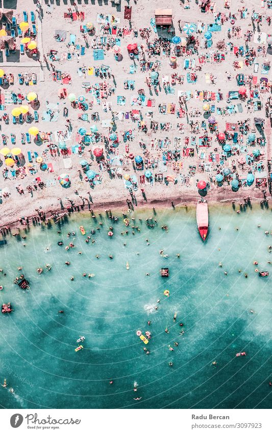 People Crowd On Beach, Aerial View Swimming & Bathing Vacation & Travel Adventure Summer Summer vacation Ocean Waves Human being Crowd of people Environment