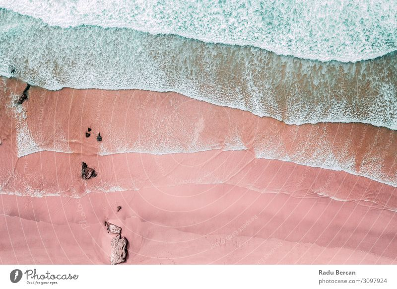Aerial View Of Ocean Waves And Beautiful Pink Sandy Beach Shore Vacation & Travel Nature Summer Blue Colour Water Landscape Environment Coast Freedom Weather