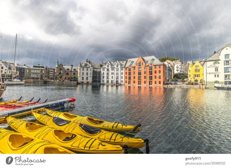 Alesund City Centre (Norway) Vacation & Travel Tourism Trip Adventure Far-off places Freedom Sightseeing City trip Cruise Water Sky Clouds Storm clouds