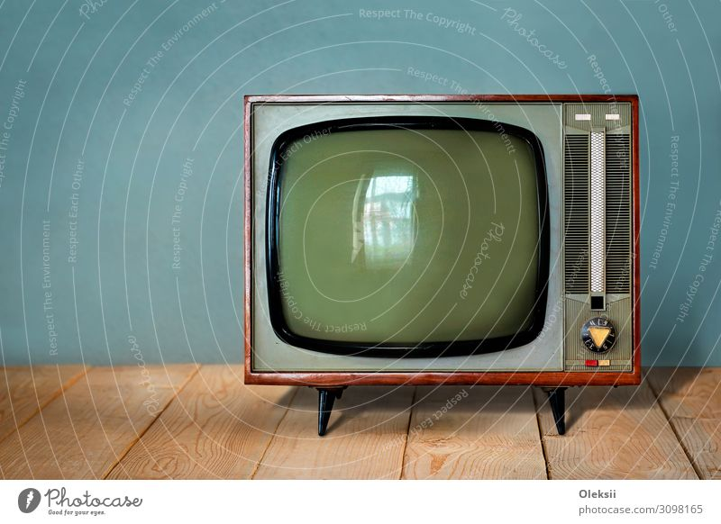 Vintage soviet TV set on wooden table Media Television Watching TV Colour photo Interior shot