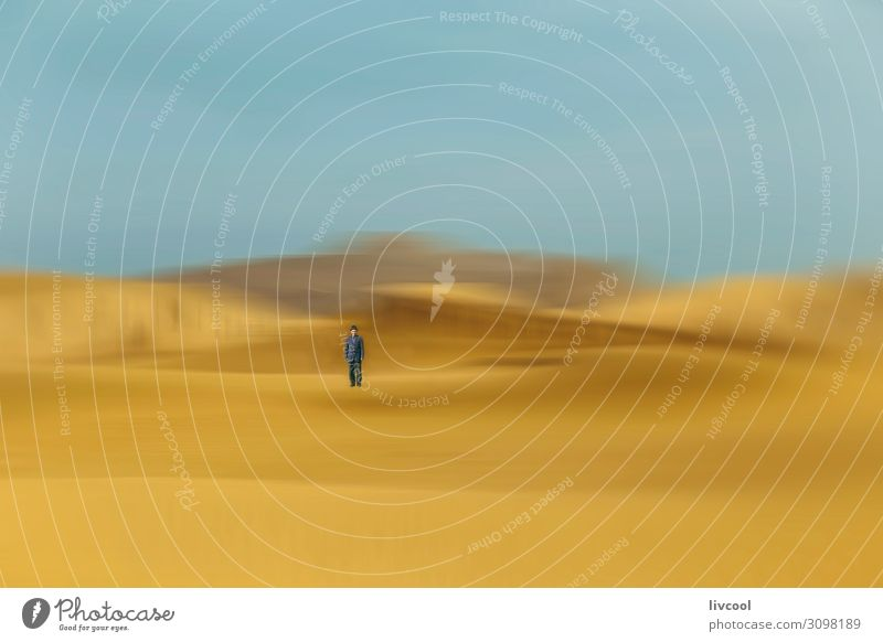 man in desert dunes , china Lifestyle Relaxation Human being Man Adults Male senior Body 1 45 - 60 years Nature Landscape Elements Sand Sky Clouds Autumn Park