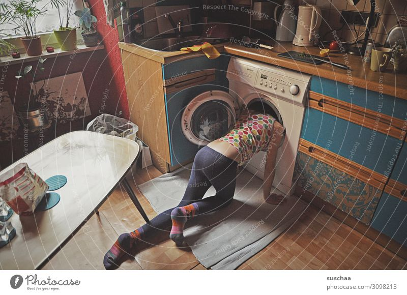 Child Girl Head Living or residing Flat (apartment) Crazy Cleaning Kitchen Search Hide Stupid Household Untidy Housekeeping Normal Washer
