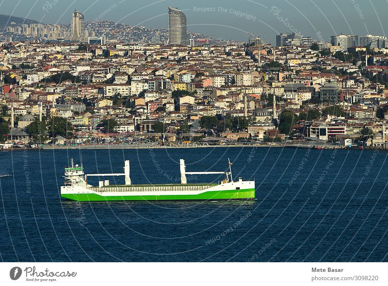 Green sustainable maritime transport. Industry Trade Logistics Energy industry Renewable energy Environment Landscape Water Cloudless sky Climate change Tree