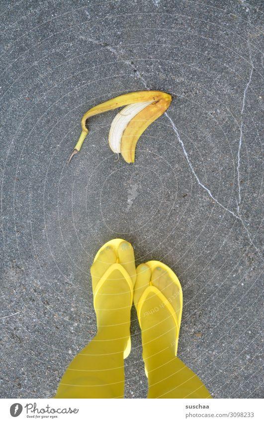 Woman Street Yellow Funny Dangerous Asphalt Stockings Testing & Control Whimsical Strange Accident Pedestrian Banana Flip-flops Slip Throw away