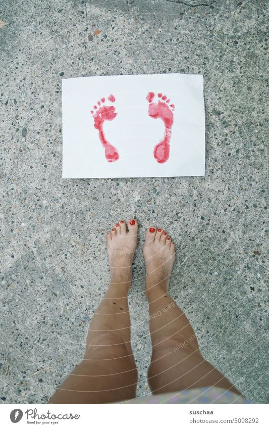 summer feet Feet Toes Legs Woman feminine Footprint Image Painted Imprint Colour Red Leaf Paper Stand Street Asphalt Strange Exceptional Nail polish Looking