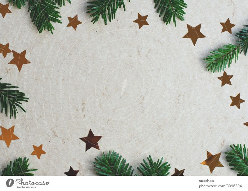 christmas decoration (2) Christmas & Advent Fir branch Fir needle Star (Symbol) stars Christmas decoration Decoration Card Neutral Background Copy Space middle
