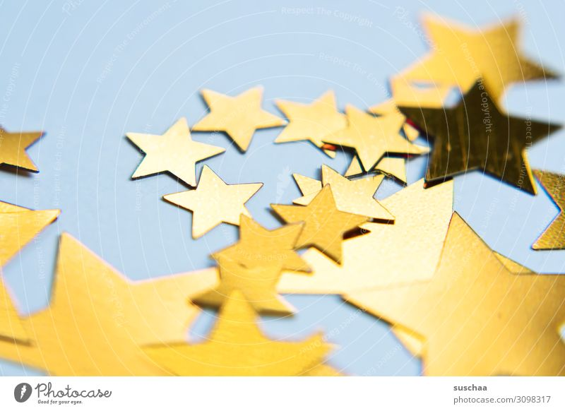 stars (2) Star (Symbol) Many Difference Size difference serrated Decoration Reflection Christmas & Advent Neutral Background Light Paper Gold