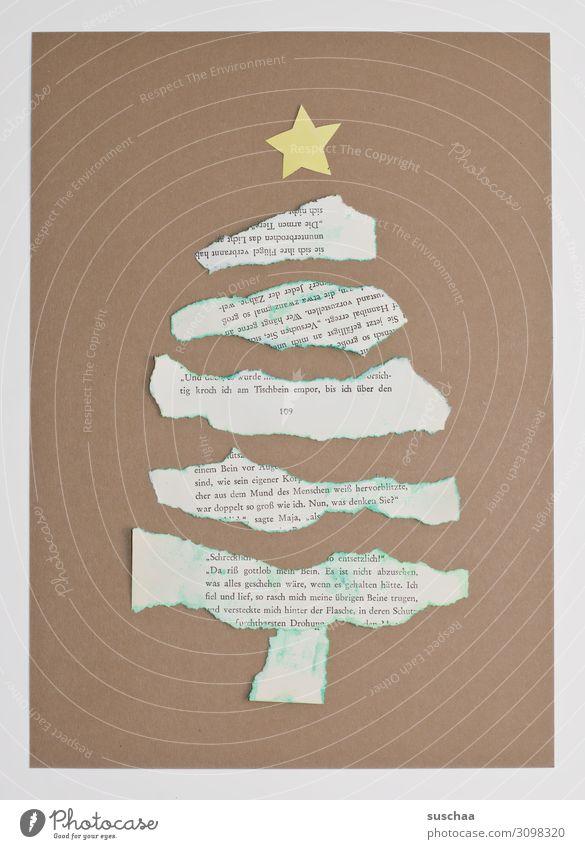 oh fir tree Oh fir tree Christmas tree Christmas & Advent Handicraft Paper newsprint Card Star (Symbol) Torn Neutral Background map Simple paper strip Cardboard
