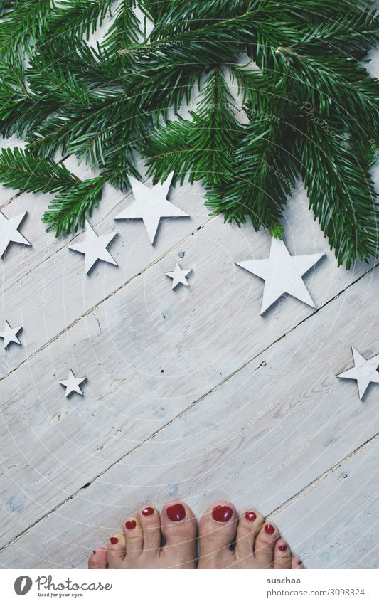oh yes, soon ... feet Toes Painted toenails feminine Woman Wooden floor Star (Symbol) Fir branch Christmas & Advent Card Exceptional Decoration flatlay