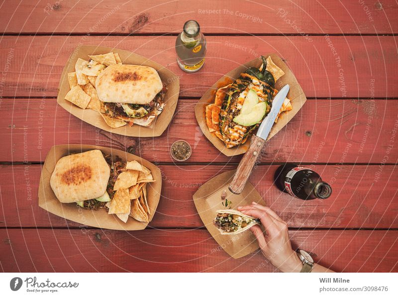 Tabletop Full of Mexican Food Healthy Eating Dish Food photograph Mexico Texas Mexicans Top topdown Flat Lunch Hand Knives Table-knife Carving knife Drinking
