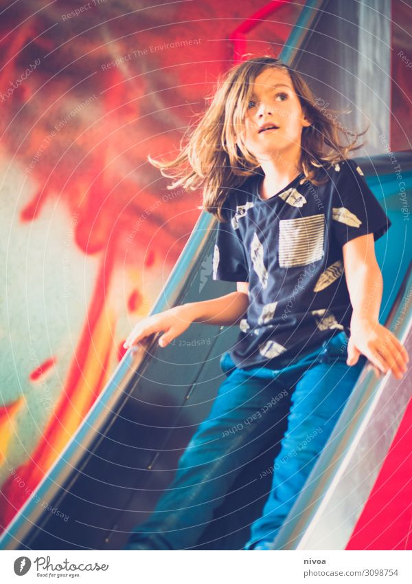 Boy on the slide Playing Skid Slide Volcano Graffiti Boy (child) Hair and hairstyles Face 1 Human being 8 - 13 years Child Infancy Art