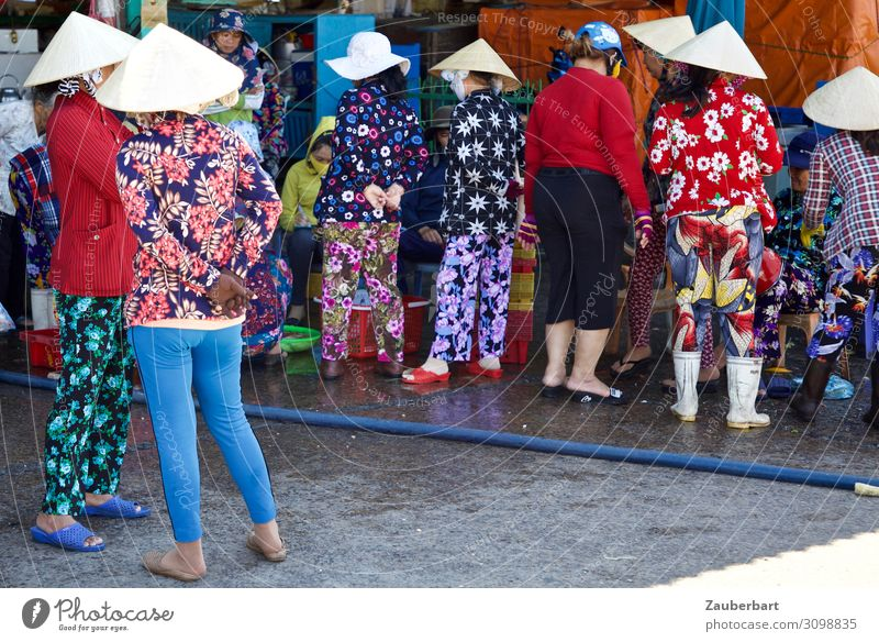 flower reunion Shopping Human being Feminine Woman Adults Group 30 - 45 years Saigon Vietnam Pants Blouse Hat Sunhat To talk Stand Exotic Together Blue Gray Red