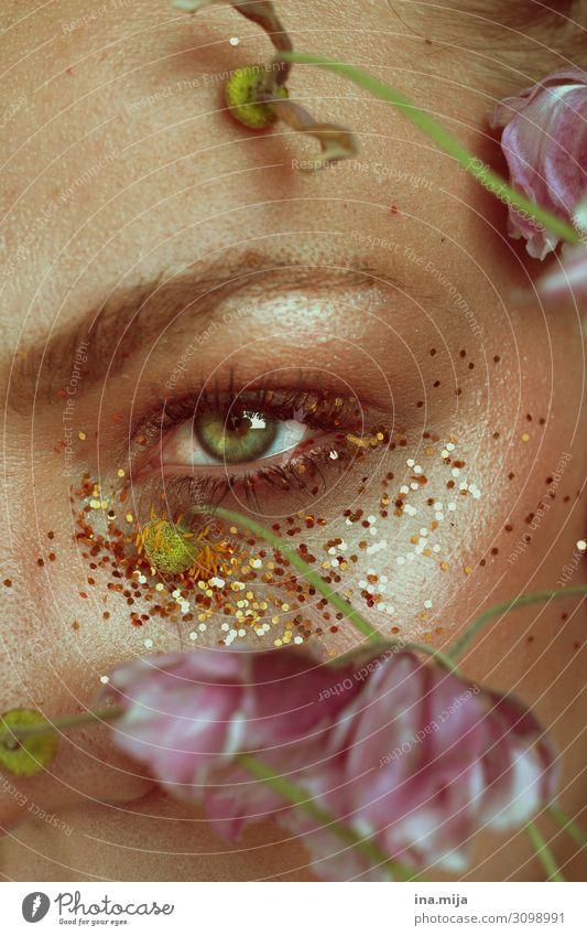 Eye between glitter and flowers Luxury Elegant pretty Skin Cosmetics Make-up Wellness Life Harmonious Well-being Senses Relaxation Calm Meditation Fragrance