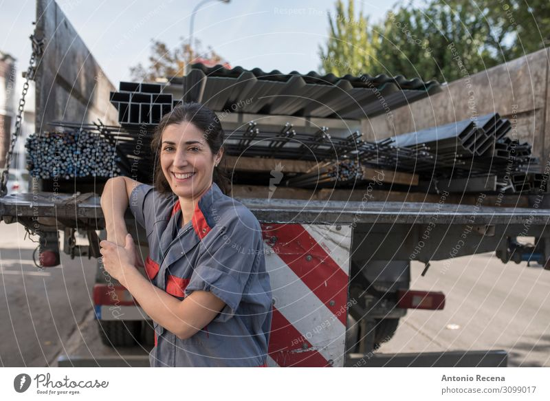 she is trucker Work and employment Profession Workplace Factory Industry Business Human being Woman Adults Transport Smiling Stand Near Protection
