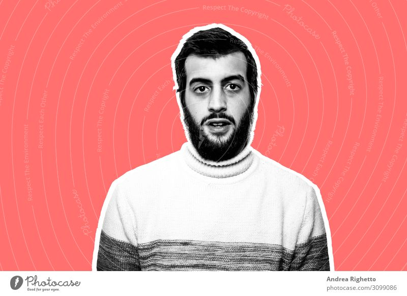 Contemporary art collage. Young bearded man in the center of the image. The background is red. He's wearing a white turtleneck. The subject is outlined with a white stroke. He has a surprised expression