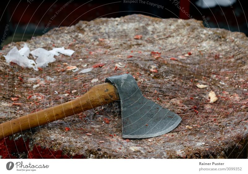 Axe on wooden block with pieces of meat Meat Fat Butcher Aggression Colour photo Interior shot Day