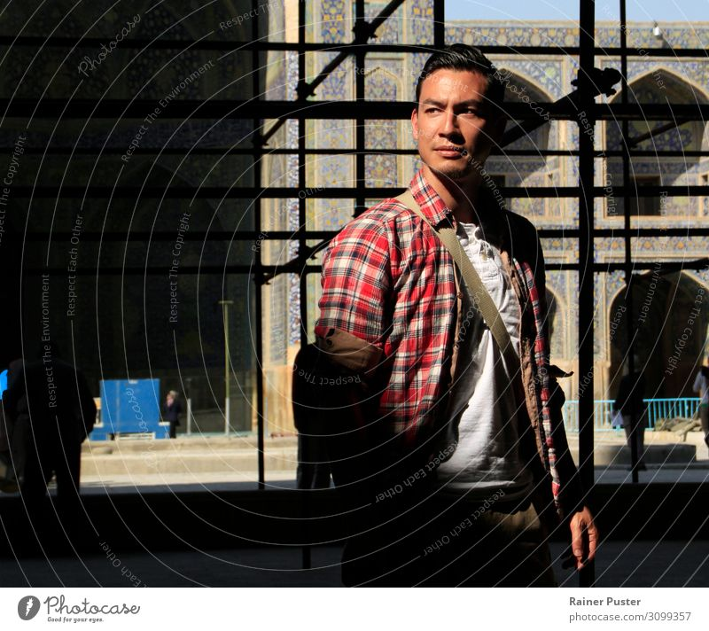 Young man standing in sunlight in Iranian mosque Style Hair and hairstyles Life Masculine Youth (Young adults) Man Adults 1 Human being 30 - 45 years Shiraz