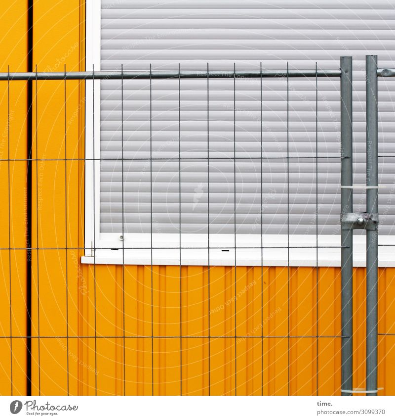 Town Window Yellow Wall (building) Building Wall (barrier) Gray Work and employment Line Metal Simple Construction site Protection Safety Stripe Attachment