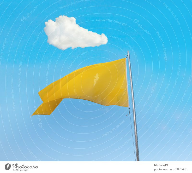 Yellow flag over blue sky Vacation & Travel Tourism Summer Summer vacation Beach Ocean Nature Landscape Sand Sky Clouds Wind Coast Hut Tube Flag