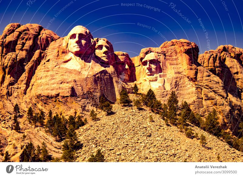 Mount Rushmore front view Face Vacation & Travel Tourism Sightseeing Mountain Landscape Sky Park Hill Rock Monument Stone Historic Blue Granite famous president