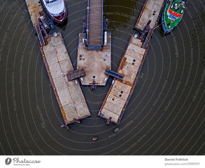 Boat dock from above Aquatics Sailing River Elbe Port City Traffic infrastructure Navigation Inland navigation Boating trip Passenger ship Ferry Motorboat