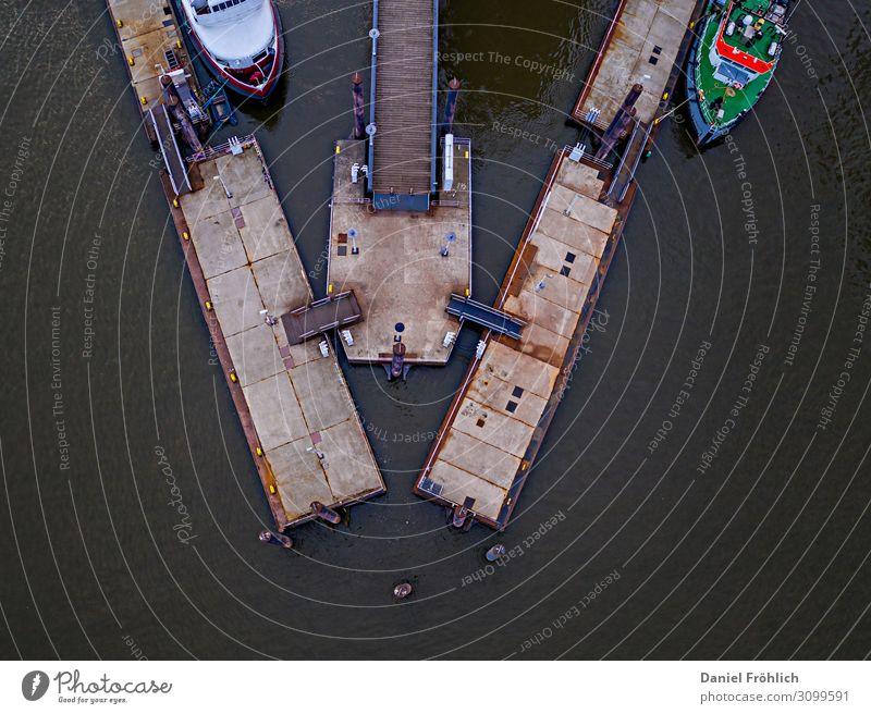 Boat dock from above Aquatics Sailing River Elbe Port City Traffic infrastructure Navigation Inland navigation Boating trip Passenger ship Ferry Motorboat