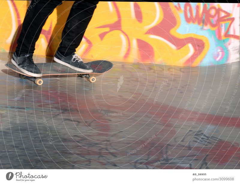 Human being Youth (Young adults) Red Black Lifestyle Graffiti Yellow Wall (building) Sports Movement Wall (barrier) Freedom Feet Facade Leisure and hobbies